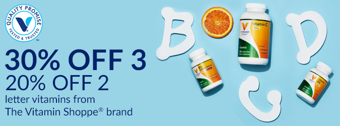 30% off 3, 20% off 2 Letter Vitamins
